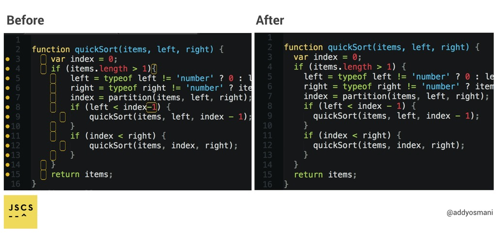 Auto-formatting JavaScript code style before and after
