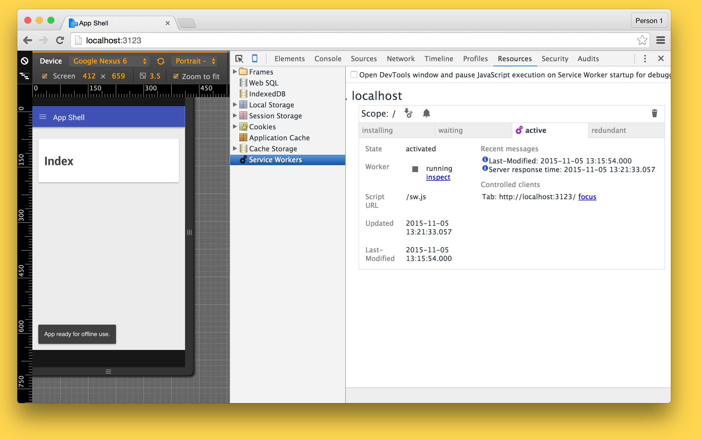 Image of Service Worker running in DevTools for the Application Shell