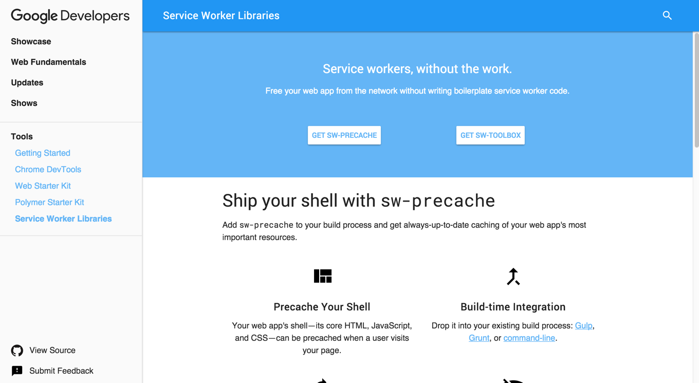 Screenshot of the Service Worker Library Site on Web Fundamentals