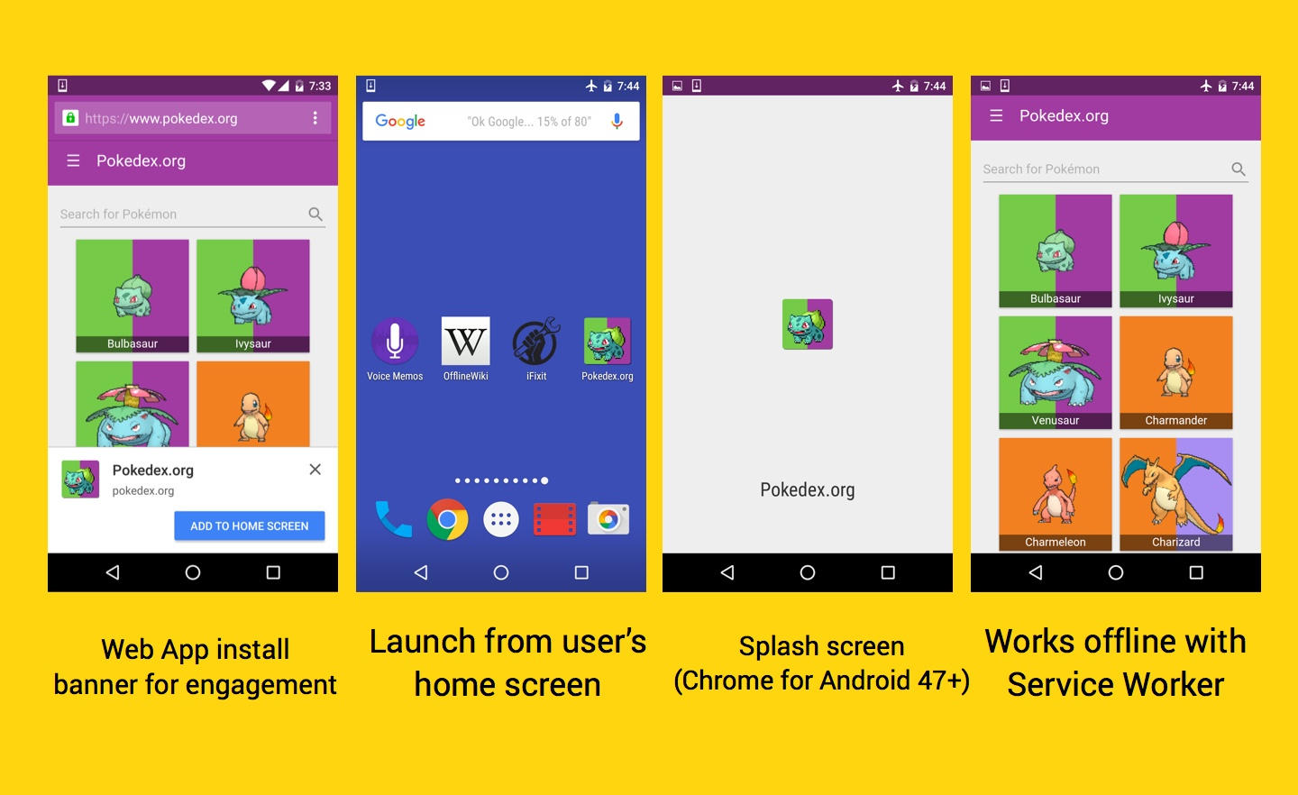 Web app install banners for engagement, launch from the user's homescreen, splash screen in Chrome for Android, works offline with Service Worker