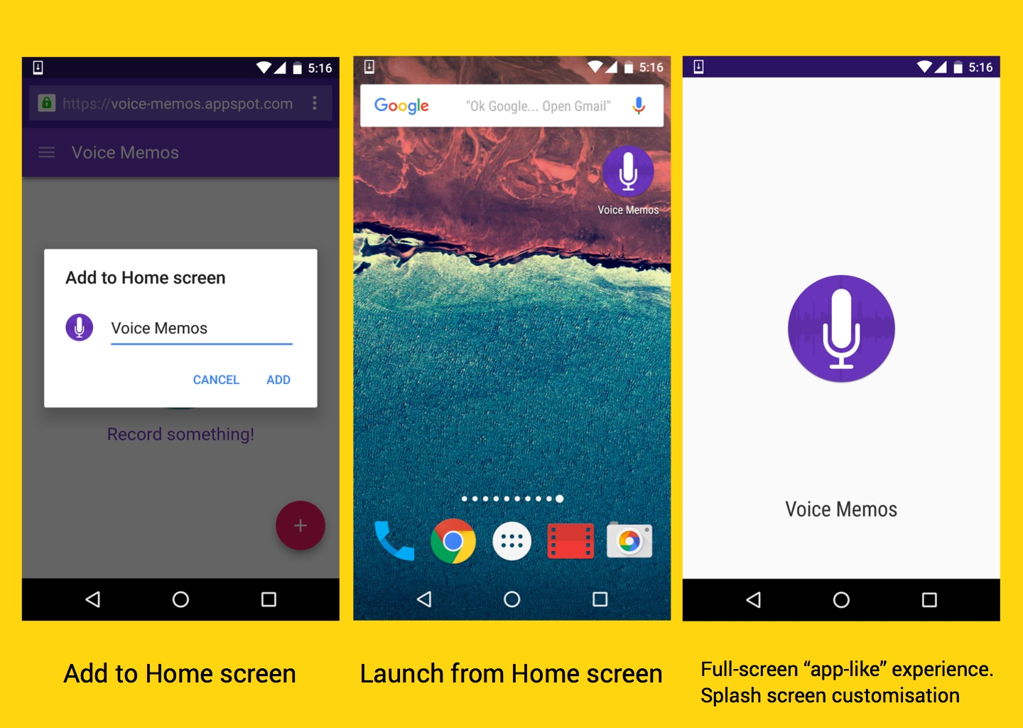 Add to homescreen, launch from homescreen and full-screen app-like experiences.