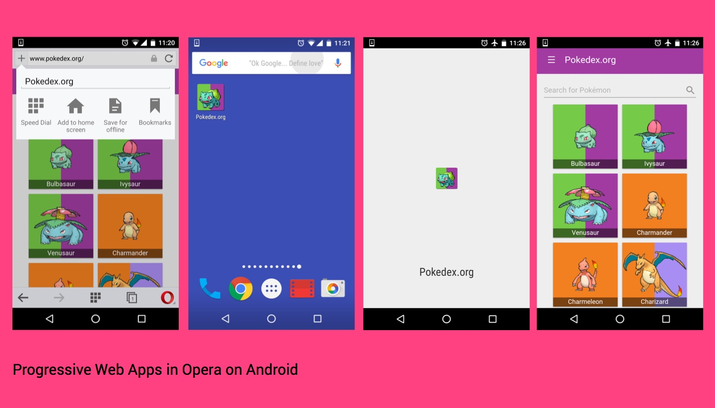 Progressive web apps working in Opera for Android