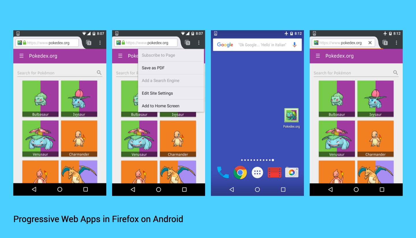 Progressive web apps working in Firefox for Android