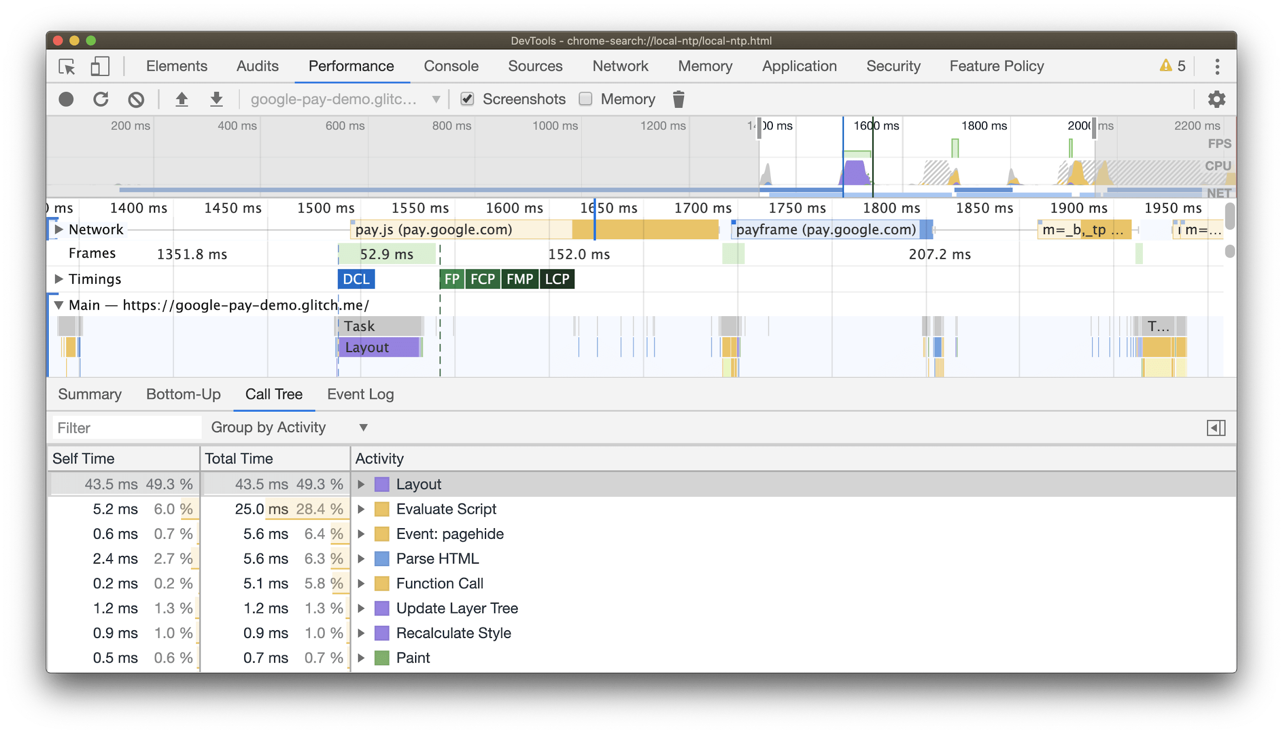 Screenshot of a DevTools performance profile from loading and rendering a page