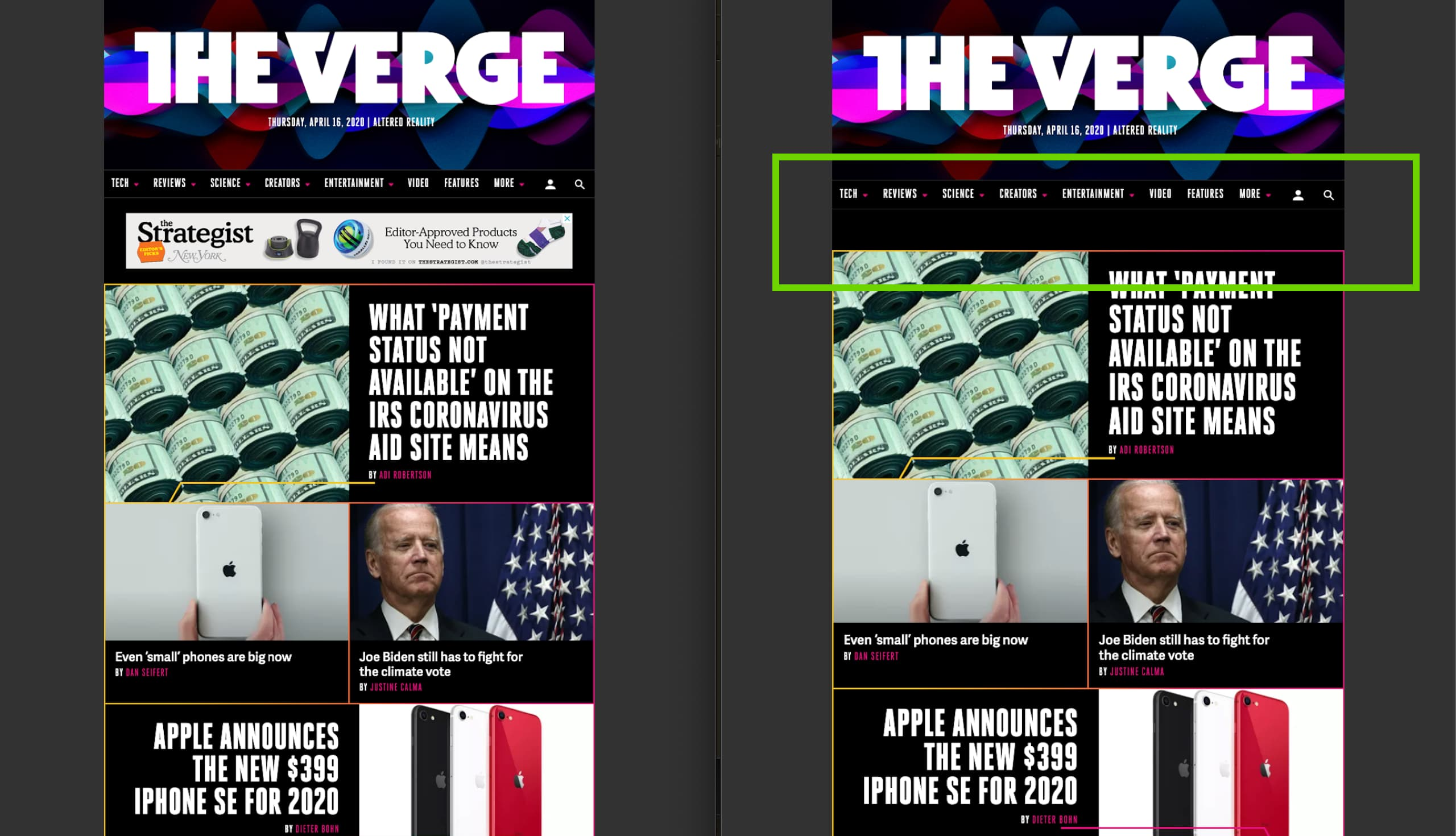 The Verge before/after domain blocking