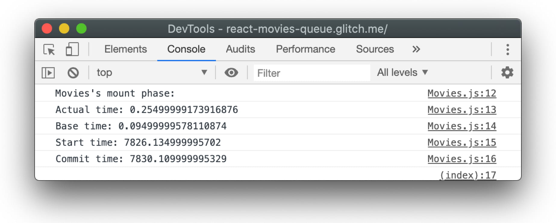 Profiler times in DevTools