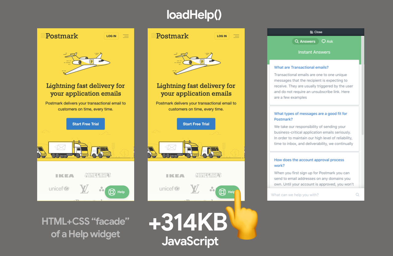 A HTML+CSS approximate of the customer help widget