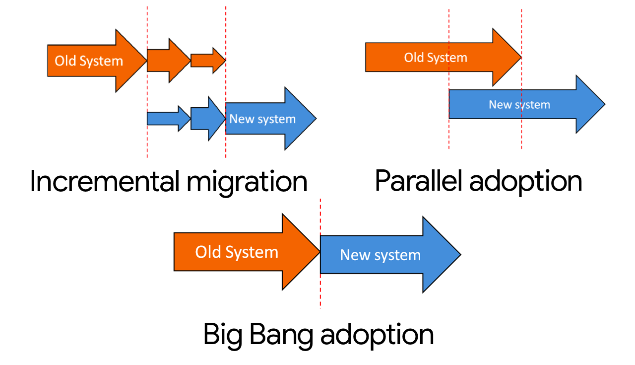 incremental migration, parallel adoption and big bang adoption.