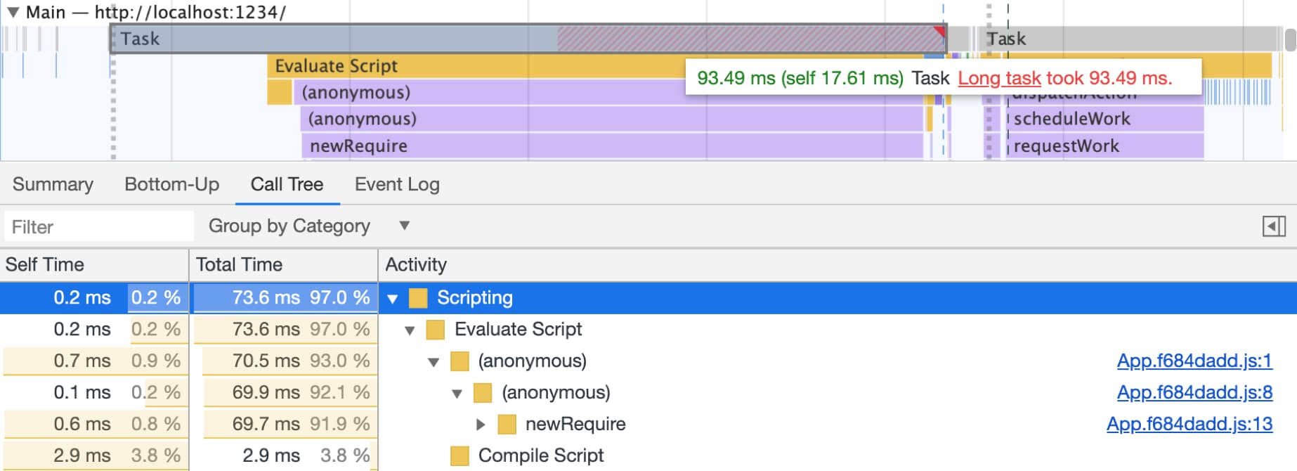 Long Tasks highlighted in the devtools performance panel