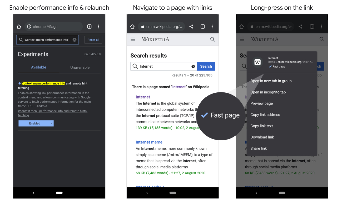 Fast page labelling in Chrome for Android after long-pressing on a link