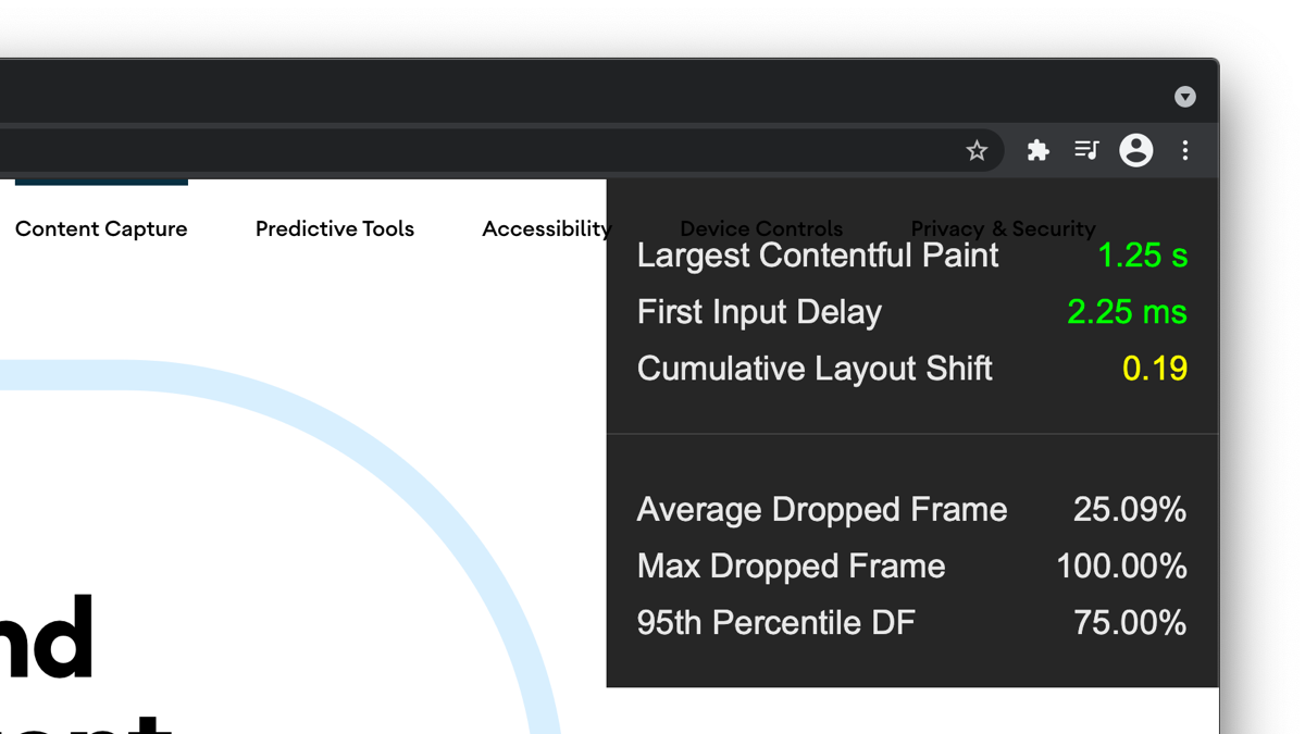 Today I'm happy to preview a new Performance Heads-Up Display (HUD) coming to Chrome and Chrome for Android. It includes the Core Web Vitals.